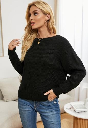 Winter Casual Black Basic Long Sleeve Sweater
