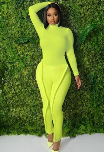Fall Causal Green High Collar Long Sleeve Slim Top And Tube Citron Pant Matching Set