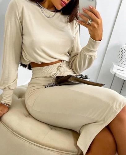 FallHkaki Basic Long Sleeve Crop Top and Matched Midi Pencil Skirts Set