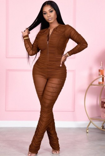 Fall Sexy Brown Zipper Up Wrinkle Long Sleeve Jumpsuit