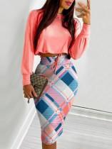 Fall Peach Pink Basic Long Sleeve Crop Top and Print Midi Pencil Skirts Set