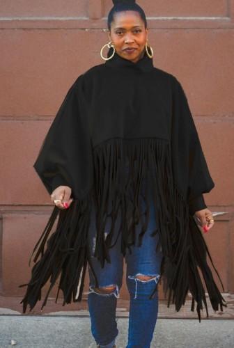 Güz Büyük Beden Siyah Yüksek Boyun Puf Kol Oversize Püsküllü Üst