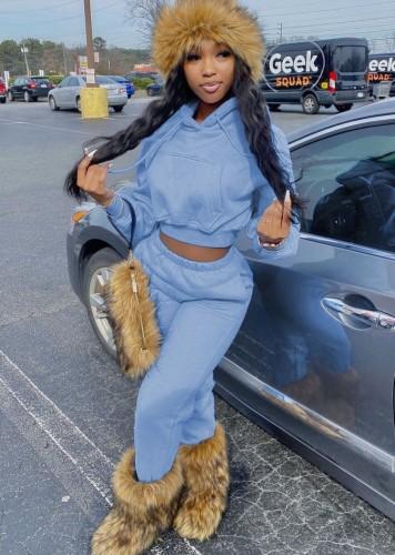 Fall Causal Blue Pocket Long Sleeve Hoodies And Pant Matching Set