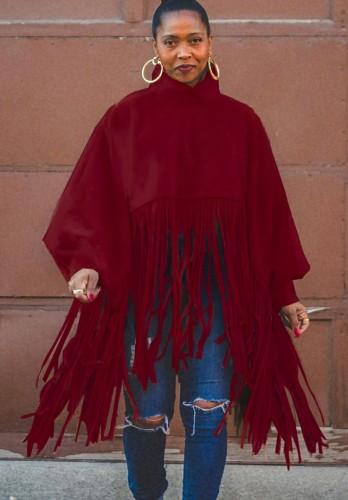 Güz Büyük Beden Kırmızı Yüksek Boyun Puf Kol Oversize Püsküllü Top
