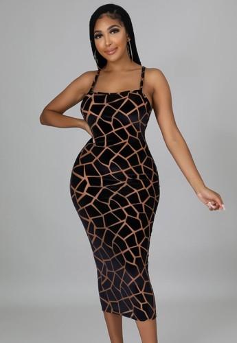 Sommer Sexy Schwarzes Leopardenmuster Trägerkleid