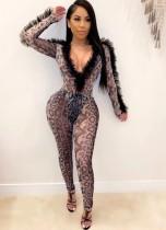 Güz Seksi Leopar Desenli V Yaka Uzun Kollu Ruffles Bodysuit Pantolonlu Takım