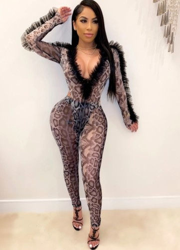 Fall Sexy Leopard Print V-Neck Long Sleeve Ruffles Bodysuit With Pant Set