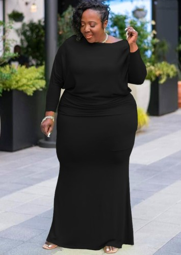 Güz Büyük Beden Düz Siyah Uzun Kol Tam Maksi Elbise