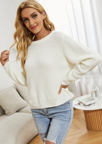 Winter Casual White Basic Long Sleeve Sweater