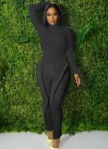 Set abbinato pantalone nero a maniche lunghe con colletto alto e maniche lunghe a tubino nero causale autunnale