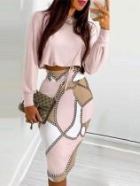 Fall Pink Basic Long Sleeve Crop Top and Print Midi Pencil Skirts Set