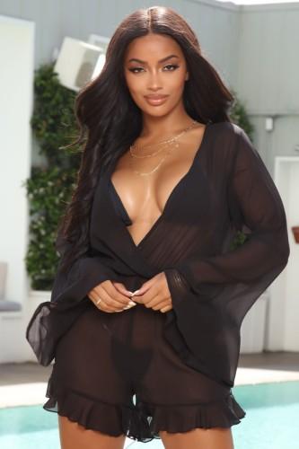Fall Sexy Black V-Neck Long Sleeve See Through Mesh Ruffles Bodysuit