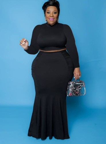 Fall Plus Size Basic Black Slim Crop Top and Matched Mermaid Skirt Set