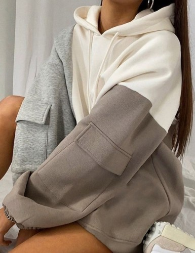 Fall Casual Colors Patchwork Oversize Hoodies with Pocket Sleeve