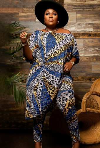 Fall Plus Size Leopard Print Off Shoulder half Sleeve loose Top and Matched Pants Set