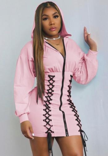 Sonbahar Pembe Bağcıklı Fermuarlı Uzun Kollu Kapüşonlu Günlük Elbise