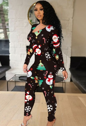 Winter Christmas Print Long Sleeve Hollow Out Jumpsuit