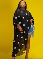 Herbst Plus Size Schwarzer Punkt Print Langarm Langes Kleid