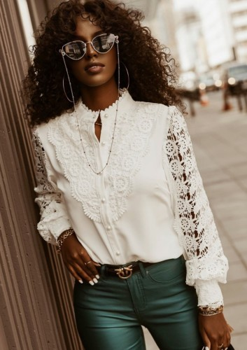 Fall White Hollow Out Lace Stand Collar Long Sleeve Shirt