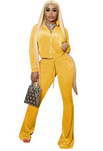 Sonbahar Casual Sarı Crop Top Ve Pantolon 2 Parça Kadife Eşofman