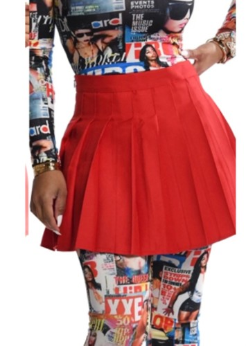 Fall Sexy Red Midi Pleated Skirt