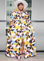 Herbst Plus Size Fashion Print Langarm-Knöpfe-langes Hemdkleid