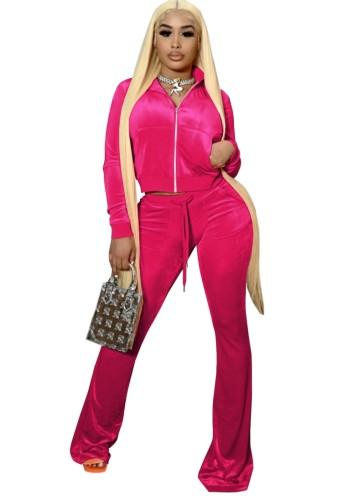 Güz Casual Rosy Crop Top Ve Pantolon 2 Parça Kadife Eşofman