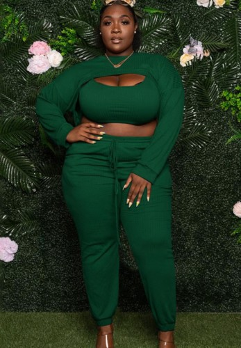 Fall Plus Size Green Hollow Out Long Sleeve Crop Top And Pant Set