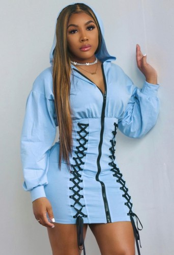 Sonbahar Mavi Bağcıklı Fermuarlı Uzun Kollu Kapüşonlu Günlük Elbise