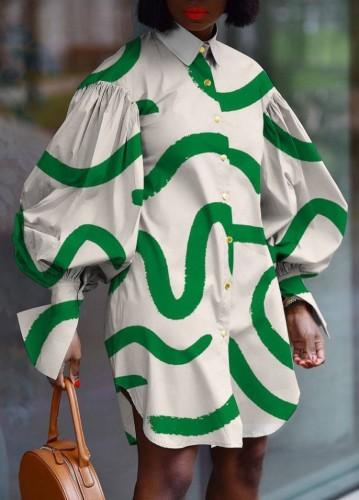 Sonbahar Günlük Baskı Düğmeli Yukarı Devirme Yaka Retro Puf Lseeve Bluz Elbise