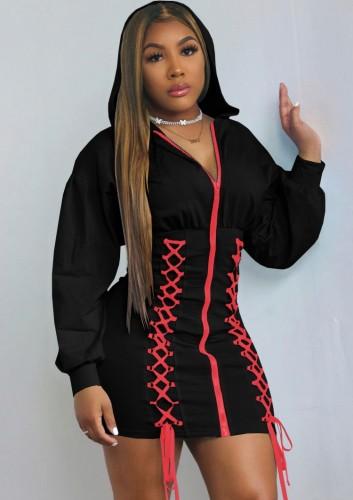 Sonbahar Siyah Bağcıklı Fermuarlı Uzun Kollu Kapüşonlu Günlük Elbise