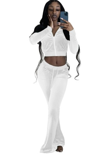 Güz Casual Beyaz Crop Top Ve Pantolon 2 Parça Kadife Eşofman