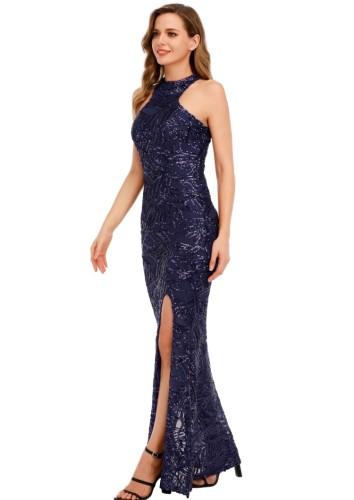 Summer Formal Blue Sequin Scoop Neck Sleevelese Slit Evening Dress
