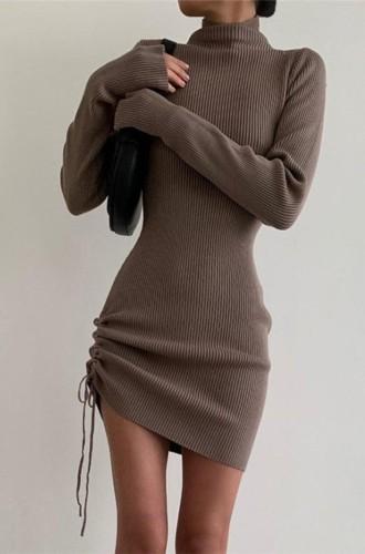 Güz Gri Ribanalı Yüksek Boyun Uzun Kol Bağlamalı İp Elbise