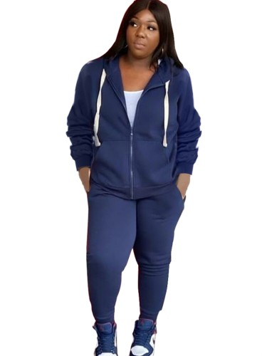 Fall Plus Size Casual Dark Blue Zipper Hoode Two Piece Tracksuits
