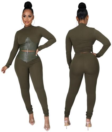 Pu Deri Fermuarlı Crop Top Ve Pantolon Seti ile Sonbahar Modası Yeşil
