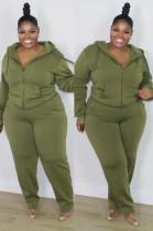 Herbst Plus Size Casual Grün Langarm Hoodies und Hose Set