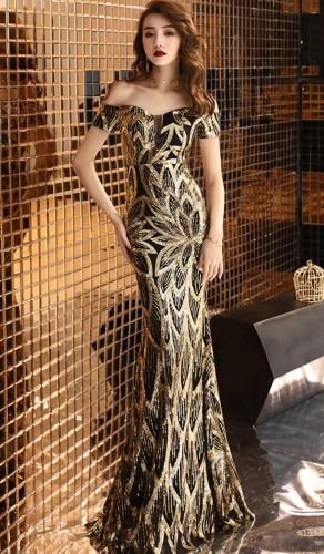 Summer Formal Golden Sequin Off Shoulder Long Evening Dress