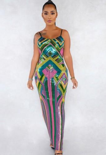 Summer Formal Colorfull Sequin Strap Long Evening Dress