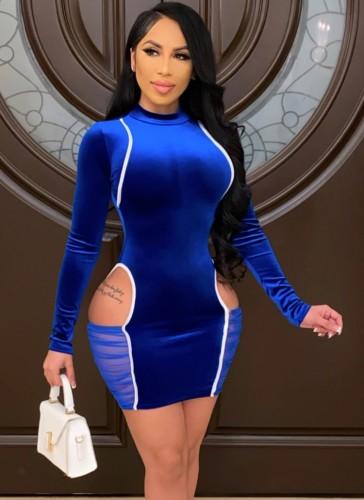 Herbst Sexy Blauer Samt Rundhalsausschnitt Langarm Ausschnitt Figurbetontes Kleid