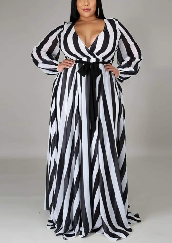 Fall Plus Size Stripes Printed Wrap V Neck Long Sleeve Maxi Dress with Belt
