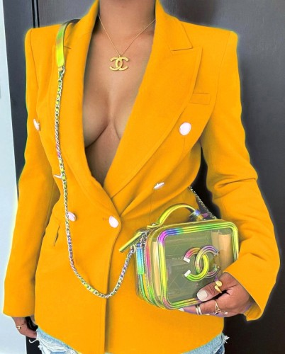 Fall Sexy Orange Double-breasted Career Blazer
