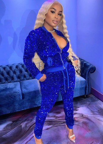 Winter Fashion Blue Sequin Zipper Long Sleeve Top And Pant Set