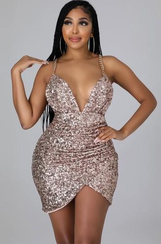 Summer Sexy Fashion Kahaki Chain Strap Sequin Midi Dress