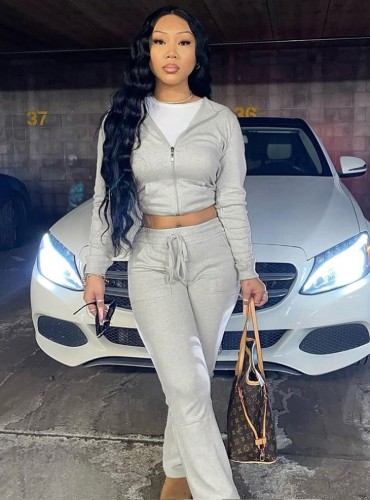 Fall Casual Grey Zipper With Hood Long Sleeve Crop Top And Pant Matching Set