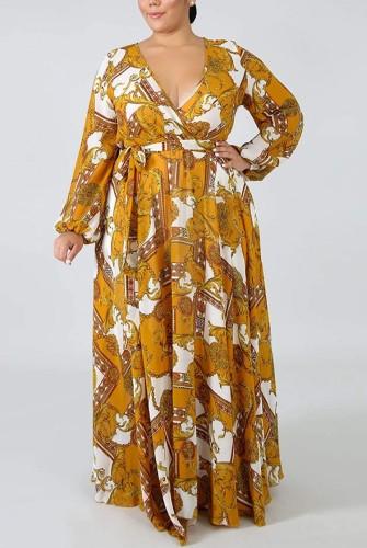 Herbst Plus Size Retro Bedrucktes Wickelkleid mit V-Ausschnitt Langarm Maxikleid mit Gürtel