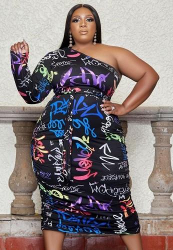 Fall Plus Size Fashion Letter Print One Shoulder Long Dress