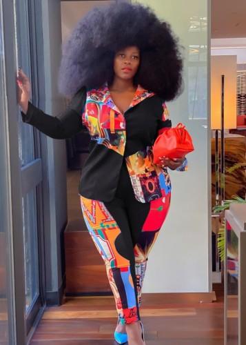 Fall Plus Size Black Patchwork Blazer And Matching Pants Set