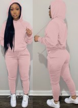 Winter Casual Pink Kangaroo Pocket Langarm Hoodies und Hose Set