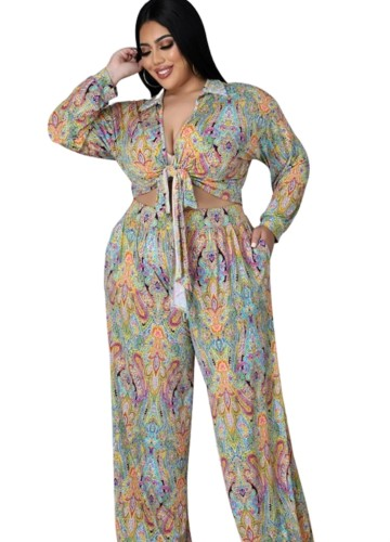 Fall Plus Size Sexy Floral Tie-Knotted Long Sleeve Blouse And Loose Pants Set